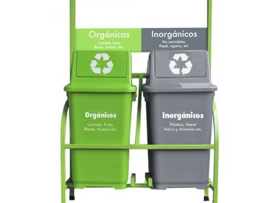 Set bote de basura ecologico 2 botes con marco