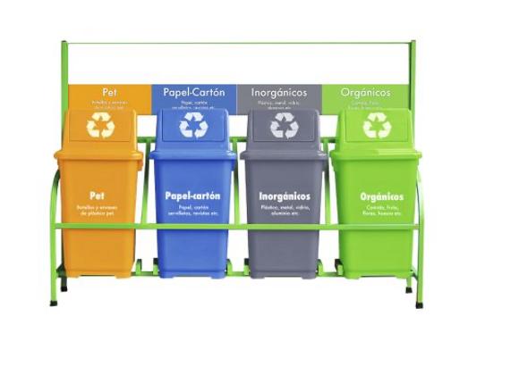 Set bote de basura ecologico 4 botes con marco