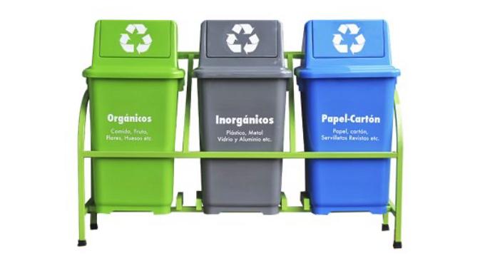Set bote de basura ecologico 3 botes con marco