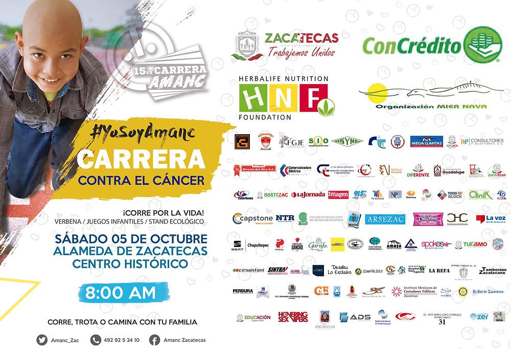 ¡Corre por la vida éste próximo 05 de octubre en Alameda de Zacatecas a partir de las 8:00 am! ¡Asiste a la 15 va Carrera contra el cáncer infantil!