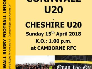 Cornwall U.20s this Sunday
