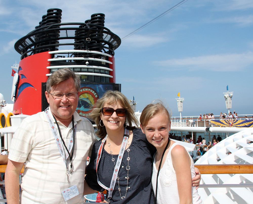 Heidi with her husband and youngest daughter on the Disney Magic Mediterranean Cruise!