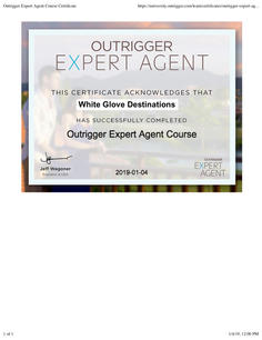 Outrigger Expert Agent Course Certificat