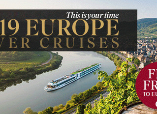 Fly FREE to Europe on ALL 2019 Scenic River Cruise Sailings