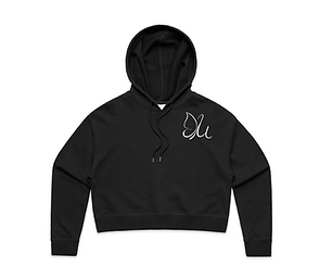 Womens Cropped Hoodie Black Front.png