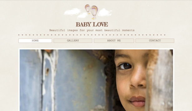 Eventer og portretter website templates – Babyfotografi