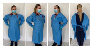 Washable Medical Gown Level 3 shown from 4 sides