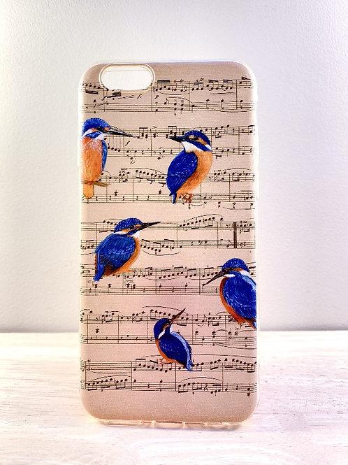 Softcover Iphone 6, 6s - ijsvogels op muziek