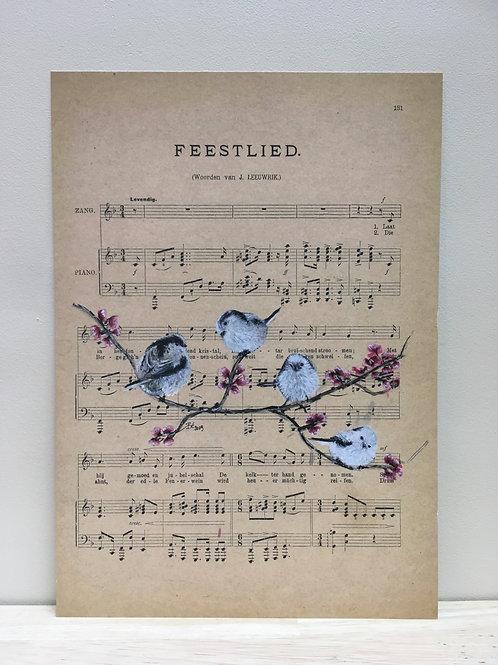 Staartmeesjes feestlied - kunstprint