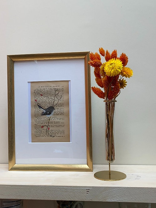 Uniek schilderij tomtit (maorivliegenvanger)