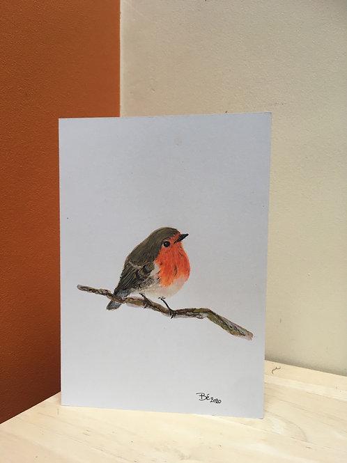 Handgeschilderde wenskaart roodborstje