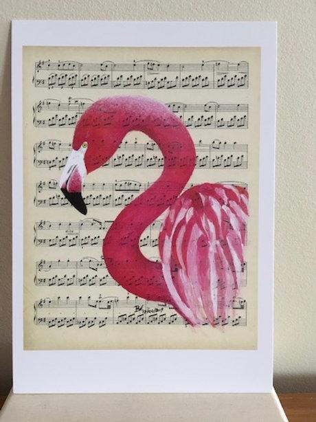Postkaart - blanco - roze flamingo