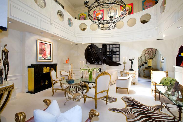 living room with zebra rug