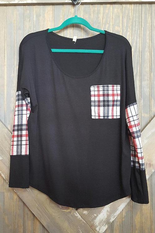 Black/Plaid Pocket Shirt