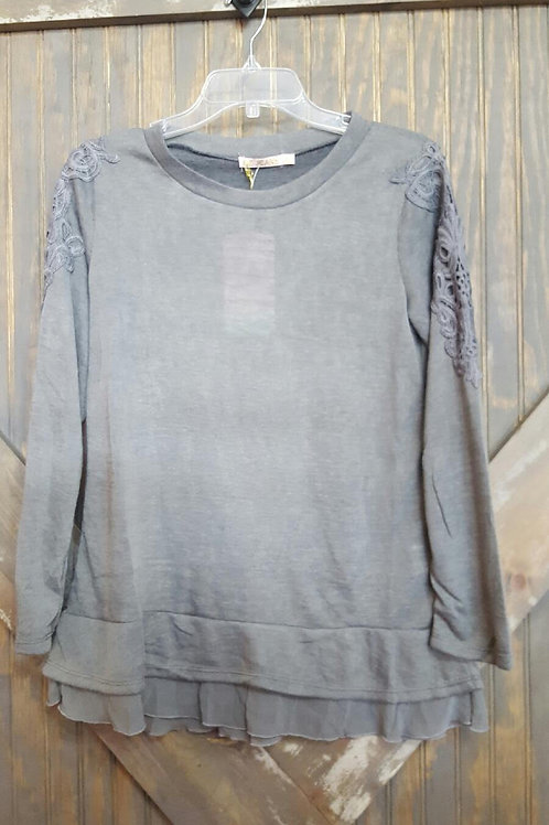 Gray Shirt with Lace Shoulder Detail