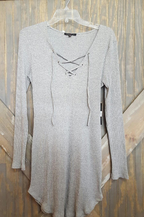Gray Shirt with Laces