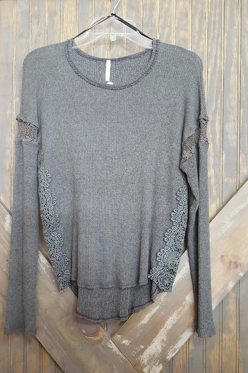 Gray Shirt with Lace Detail