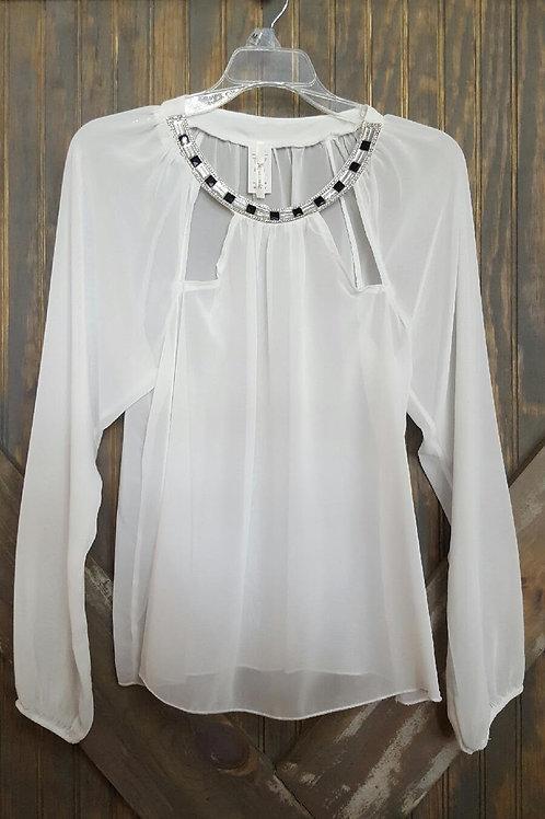 White Sheer Embellished Shirt