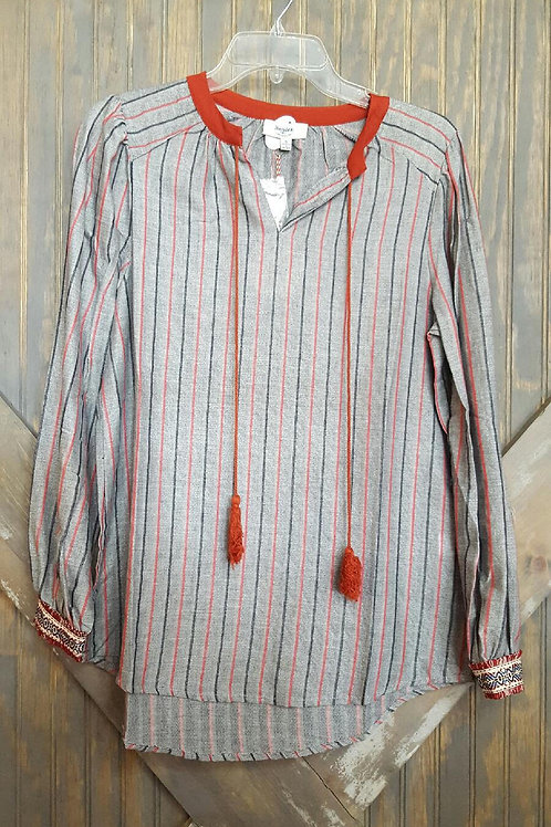 Striped Shirt with Sleeve Detail