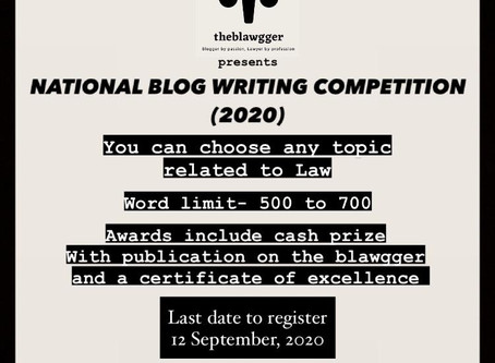 NATIONAL BLOG WRITING COMPETITION (2020)