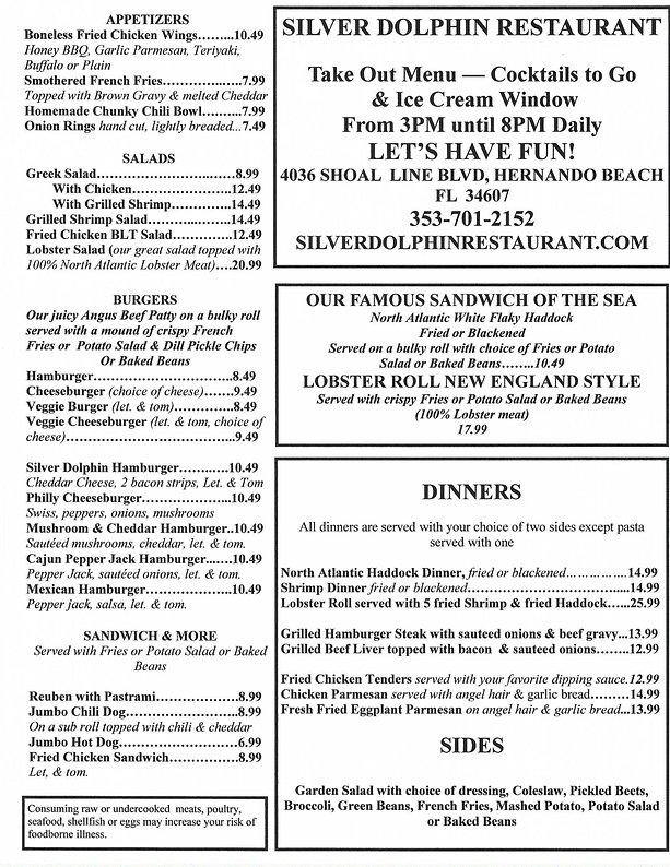 Silver Dolphin take-out menu--04-27-2020