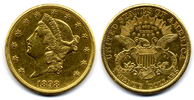 1898 San Francisco $20 Double Eagle as seen in the movies_