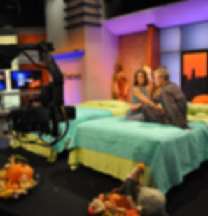 Author Niomi Call discussing her book, Yoga In Bed, on Fox 5 in San Diego