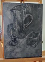 Pirjo Selenius, Asetelma, harmaasävymaalaus