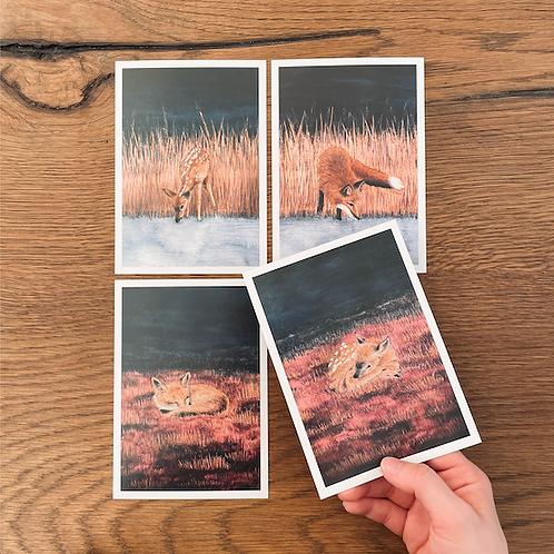 4 Postkarten A6 (Reh und Fuchs)