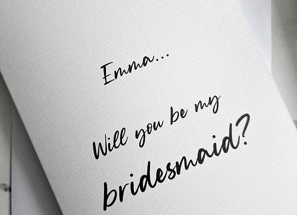 Personalised Bridesmaid Proposal Card White