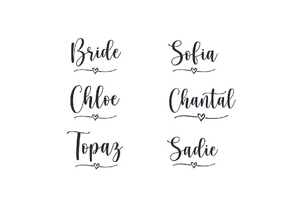Bride and Name labels + Proposal Cards