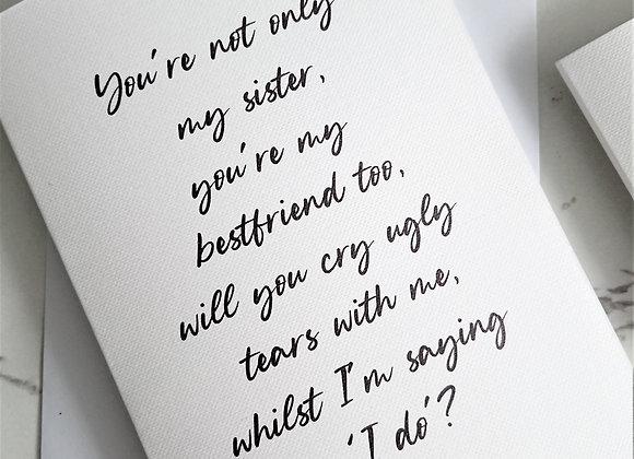 Sister bridesmaid proposal card, White