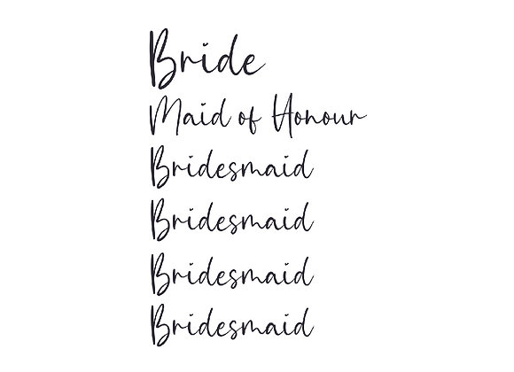 Bridal Party Vinyl Labels + Proposal Cards