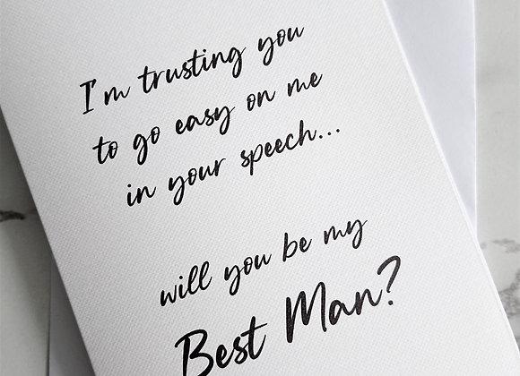 Go easy on the speech Best Man proposal card