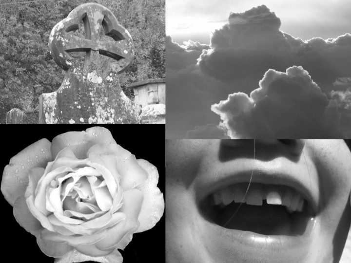Composit of beautiful sky, child's smile, rose and ancient tombstone