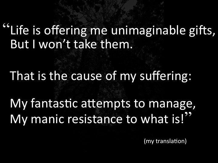 """Life is offering me unimaginable gifts, but I won't take them. That is the cause of my suffering: My fantastic attempts to manage, my manic resistance to what is!"""