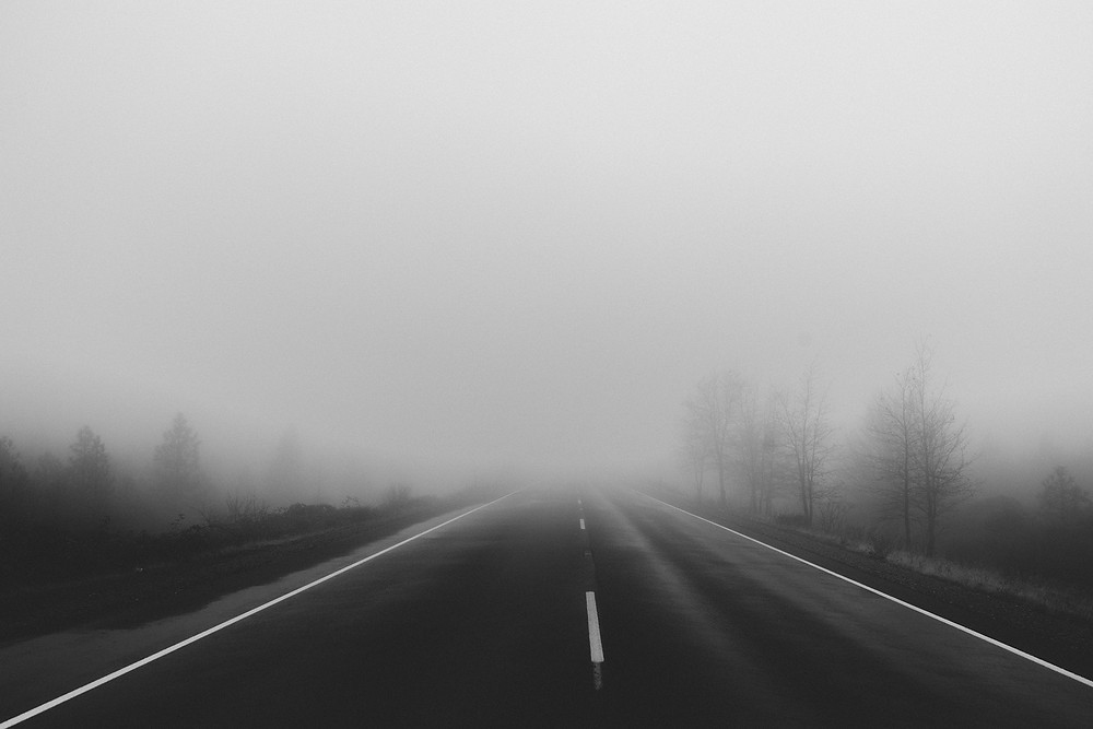 driving on a foggy road