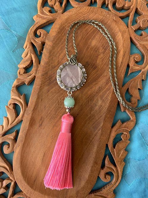 Rose quartz with jade bead Necklace