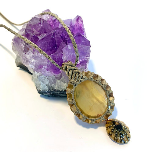 Yellow Fluorite and limpet shell necklace