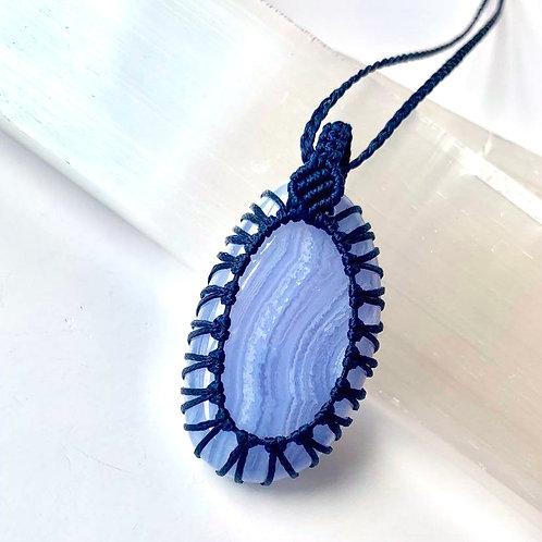 Blue Lace Agate Macrame Necklace