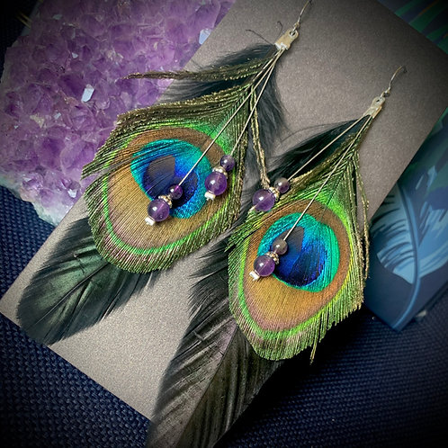 Peacock feather earrings with Amethyst beads