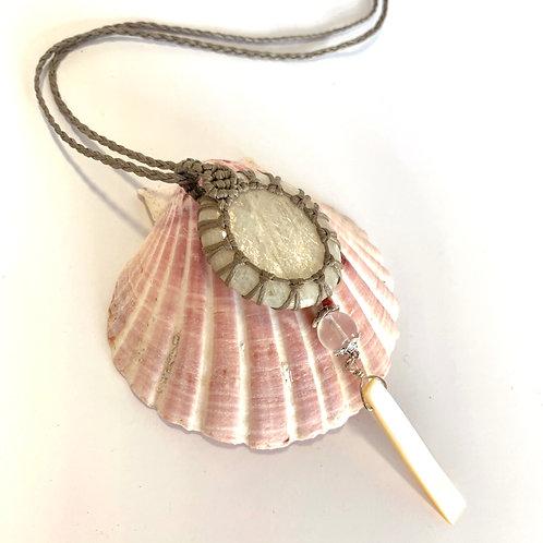 Moonstone, Rose Quartz and shell necklace
