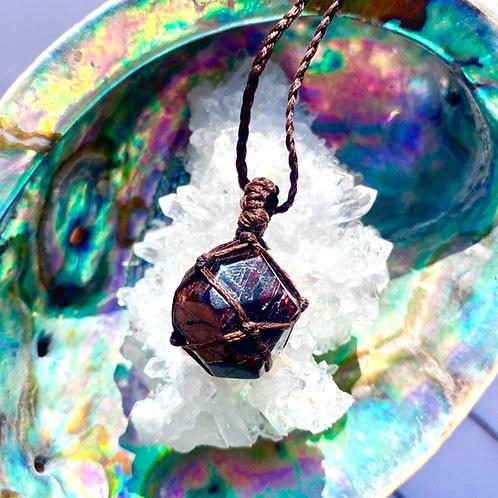 Grossular Garnet Macrame Necklace