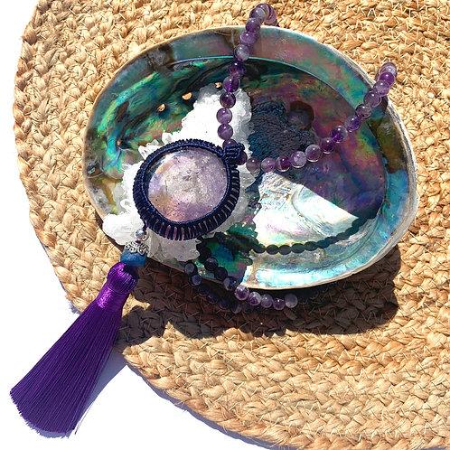 Ametrine Pendant with Lapis Lazuli bead and Amethyst bead necklace