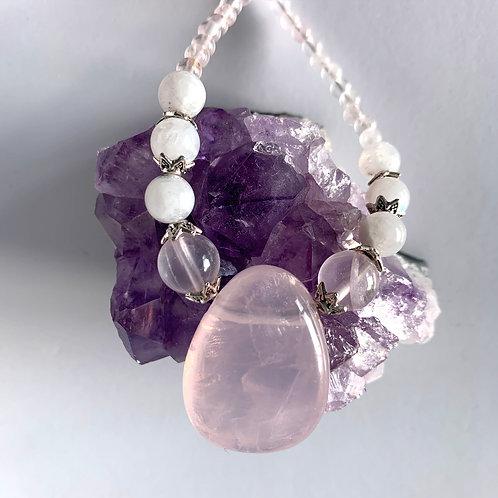 Rose Quartz and Moonstone Necklace