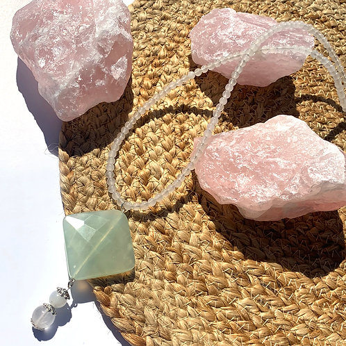 Jade and Rose quartz, with Rose quartz beaded Necklace