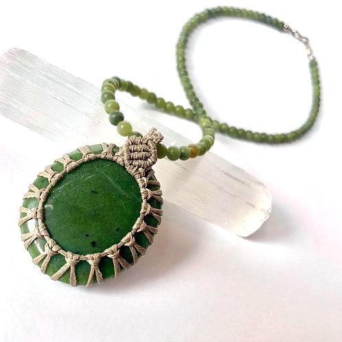 Jade (Greenstone) Pendant with Green Jasper beads