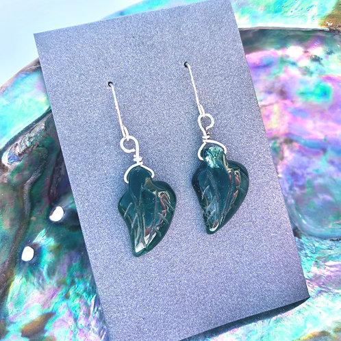 Green Moss Agate Leaf Earrings