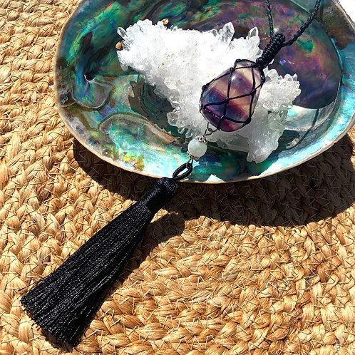 Rainbow Fluorite and moonstone Necklace