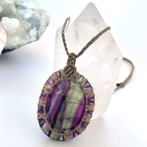 Rainbow Fluorite Macrame necklace